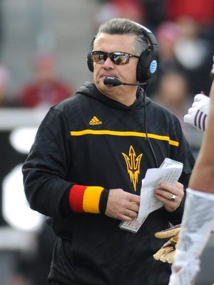 Nov 7, 2015: Arizona State Sun Devils head coach Todd Graham looks on against the Washington State Cougars during the second half at Martin Stadium. The Cougars won 30-24.