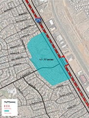 The Villa Mora area under consideration in the Apodaca Blueprint. The roughly 77 acres of undeveloped land lies at the eastern end of East Madrid Avenue.