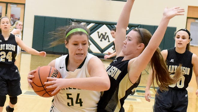 Wilson Memorial's Jordan Sondrol protects the ball from a Buffalo Gap player after coming away with the rebound during a basketball game played in Fishersville on Friday, Jan. 16, 2015.