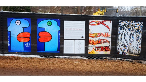 """Part of """"The Art of the Wall"""" exhibit on the campus"""