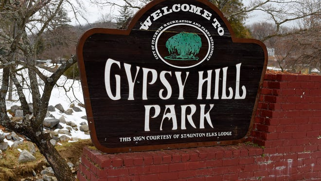 The sign identifying Gypsy Hill Park near the park's entrance in Staunton.