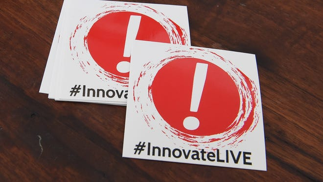 An #InnovateLIVE sticker advertising the new Innovate Live Festival available at George Bowers Grocery in Staunton.