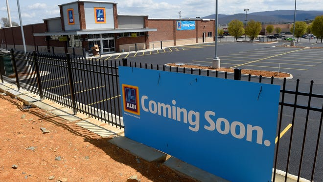 Aldi grocery store appears near complete with a 'coming soon' sign out front at Waynesboro Town Center on Monday, April 13, 2015.