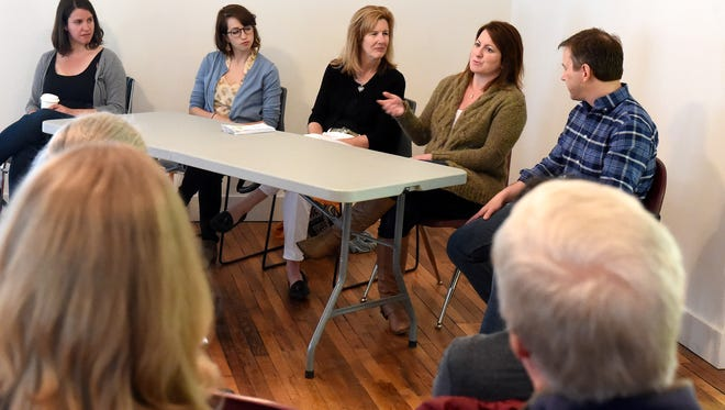 "Rosalind O'Brien, Ariel Lev, Betsy Lee, Kirsten Moore and Dan Funk lead a workshop entitled ""Where Creative Ideas Meet for Coffee"" at Staunton Makerspace as part of Innovate LIVE in Staunton on Saturday, April 25, 2015."