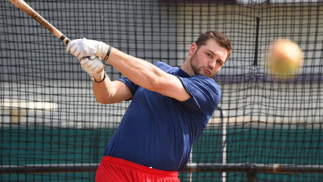 Waynesboro Generals' first baseman Shane Dressler connects with the ball and sends it flying during batting practice on Thursday, June 18, 2015. Batters like Dressler find the new low seam baseballs a welcome change