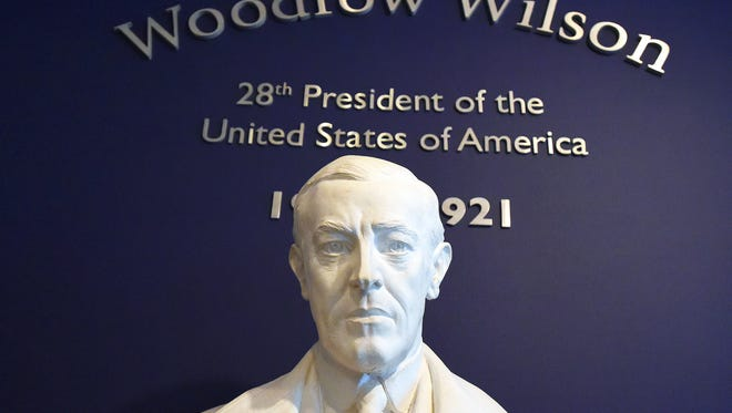 A statue of Pres. Woodrow Wilson greats visitors arriving at the Woodrow Wilson Presidential Library and Museum.