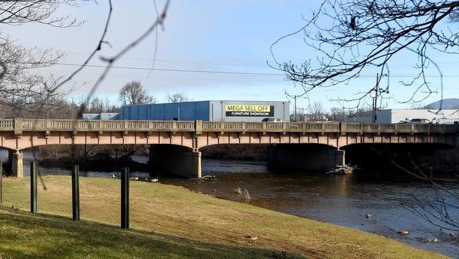 The bridge on Main Street that crosses the South River in Waynesboro. Photo taken on Thursday, Jan. 7, 2016.