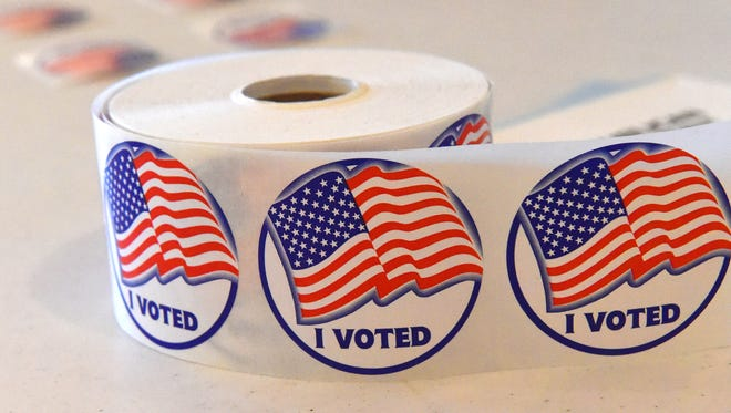 Voting stickers ready to be handed out at the Middlebrook precinct during the primary elections on Tuesday, March 1, 2016.