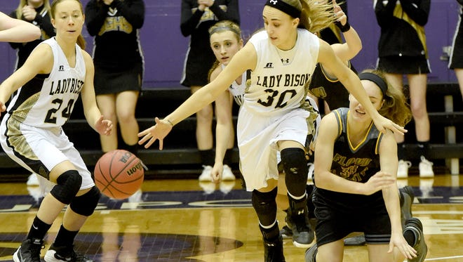 Buffalo Gap's Destiny Harper slips in and snags a loose ball for a breakaway down court during a Group 2A state quarterfinals game played at James Madison University on Saturday, March 5, 2016.