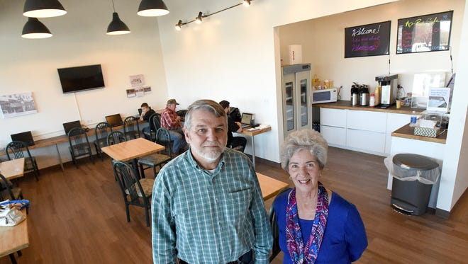 Board member Bob Weeks and board chairwoman Judith Cariker of the Verona Community Center's management board are photographed in the center's internet cafe on Monday, March 28, 2016.
