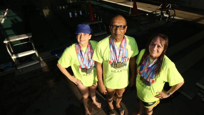 Cristina Macias, from left, Wright Stanton, and Marisa Grenier won multiple swim medals at this year's Texas Senior Games in San Antonio.
