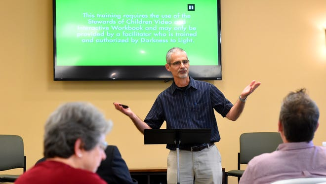 Ross Erb, child advocate with the Collins Center in Harrisonburg, leads a community training about how to keep our kids safe and prevent child sex abuse. The training taught participants how to be a certified Steward of Children at a News Leader sponsored event held Bridge Christian Church in Fishersville on Wednesday, May 11, 2016.