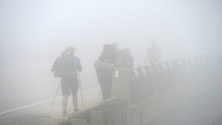 Hiking in fog on Afton