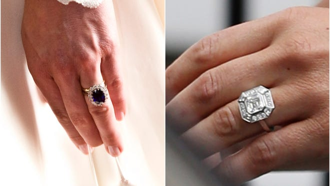 Get a closer look at Duchess Kate's engagement ring, left and that of younger sister Pippa's, right.