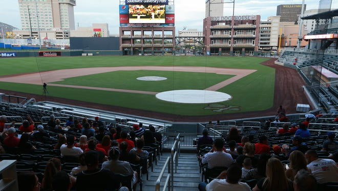The Gildan Triple-A Baseball National Championship is shown in September on the board at Southwest University Park.