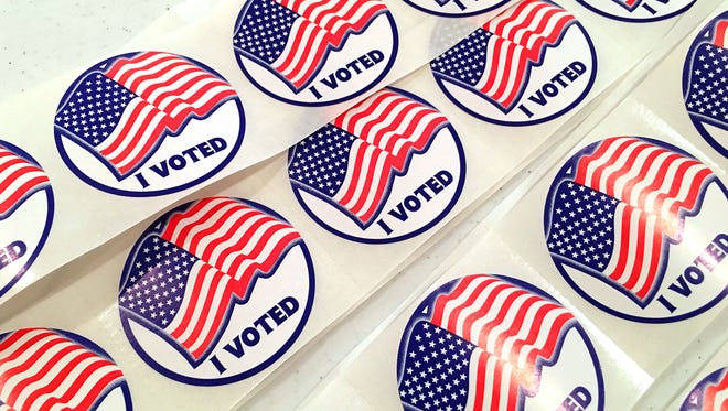 """I Voted"" stickers ready to be handed out at the Middlebrook voting precinct on election day on Tuesday, Nov. 8, 2016."