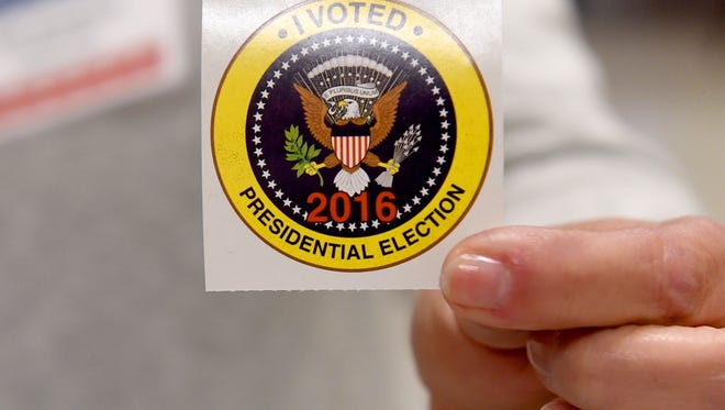 """An """"I voted"""" sticker ready to be handed out at the Ward D polling place at Westminster Presbyterian Church in Waynesboro on election day on Tuesday, Nov. 8, 2016."""