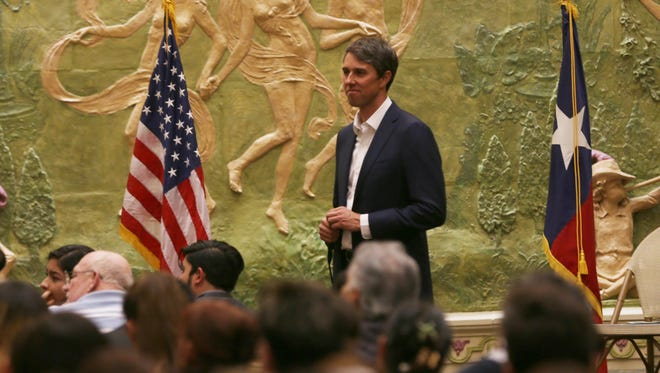 U.S. Rep. Beto O'Rourke, D-El Paso, listens to Dreamers and supporters speak at a public meeting in November.