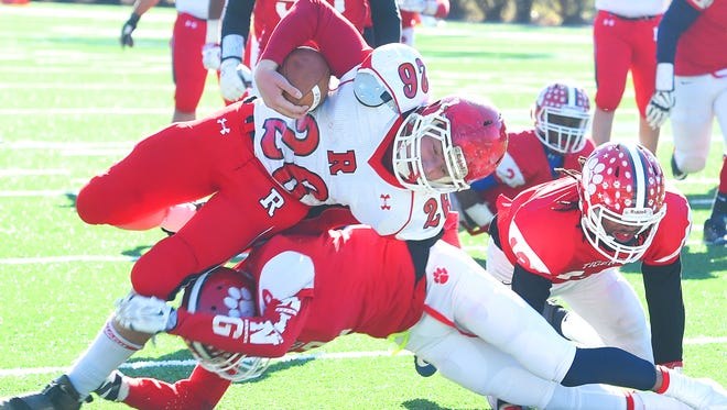 Riverheads' Dalton Jordan gets a first down during the Group 1A championship game against Sussex Central in Salem on Dec. 10.