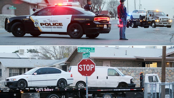 (Top photo) El Paso police block the intersection of Sumac and Sugarberry drives after a man suspected of driving a stolen van collided with vehicles while trying to flee from police on Dec. 27. (Bottom photo)Wreckers removed two of the vehicles involved in the accident.
