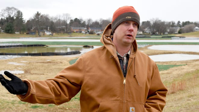 Trafford McRae, storm water program manager with Waynesboro Public Works, talks about the Jefferson Park constructed wetland project during an interview at the location on Thursday, Jan. 5, 2017.
