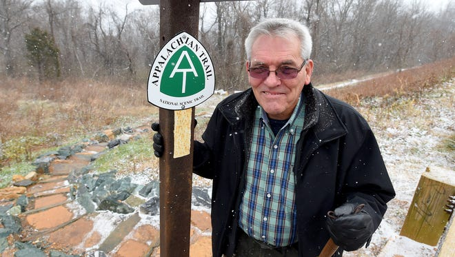 John Lowdermilk is an trail angel. He stands where the Appalachian Trail intersects with both Skyline Drive and Blue Ridge Parkway on Afton Mountain — a place he often picks up hikers as needed and brings them into Waynesboro for supplies. Lowdermilk is photographed on Friday, Jan. 6, 2017.
