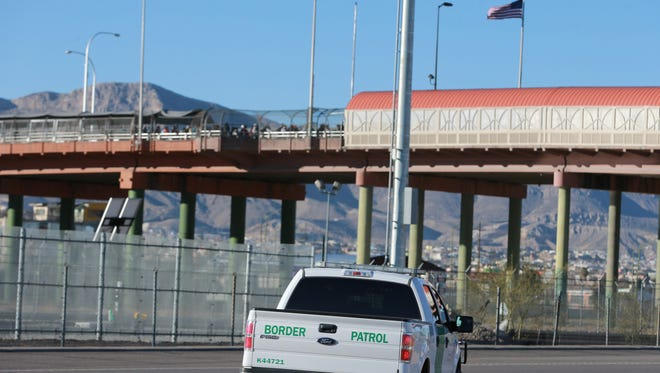 A U.S. Border Patrol truck parked near the Paso del Norte Bridge Friday. A quiet protest was held on the bridge by 50 women.