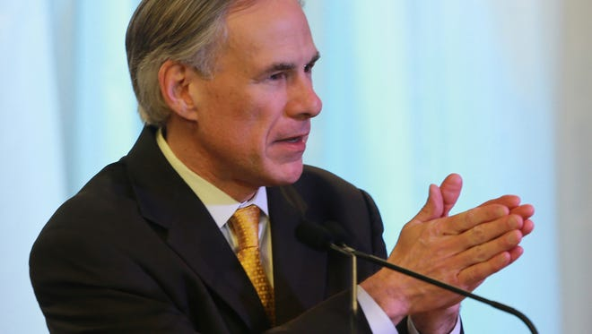Texas Governor Greg Abbot spoke Saturday at the Blackstone Event Center.