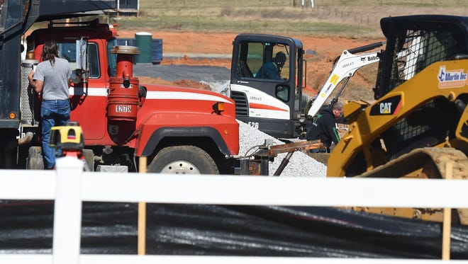 Construction continues for what will become a new Dollar General store in Stuarts Draft on Wednesday, March 8, 2017.