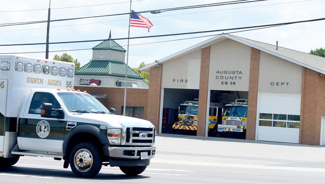 A squad with Staunton Augusta Rescue Squad drives past the Augusta County Company 10 fire station located on Richmond Road in Staunton.