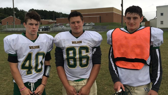 Gage Wood (40), Collin Ballew (86) and Daley Goff have all been working to overcome obstacles off the football field so they can be on the football field this fall.