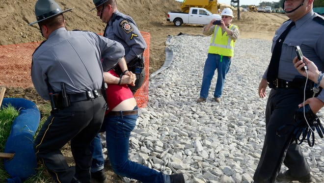 Protesters were arrested while protesting construction of the Atlantic Sunrise Pipeline outside of Columbia, Pa. They were blocking the entrance to the construction site and were arrested by Pennsylvania State Police after a warning to move.