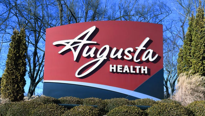 A sign marks the location of Augusta Health in Fishersville.