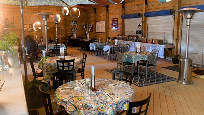 The dining area for Acres Eatery inside the beach house at Shenandoah Acres in Stuarts Draft.