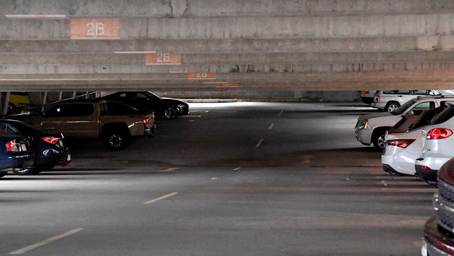 Cars parked inside the Johnson Street parking garage in Staunton.