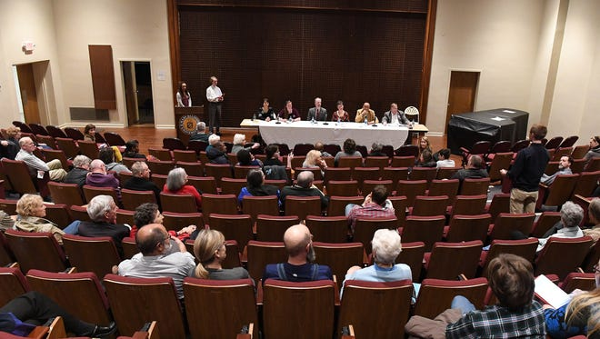 School board candidates answer questions from the audience during a Staunton candidates forum held at Francis Auditorium at Mary Baldwin University on Wednesday, April 11, 2018.