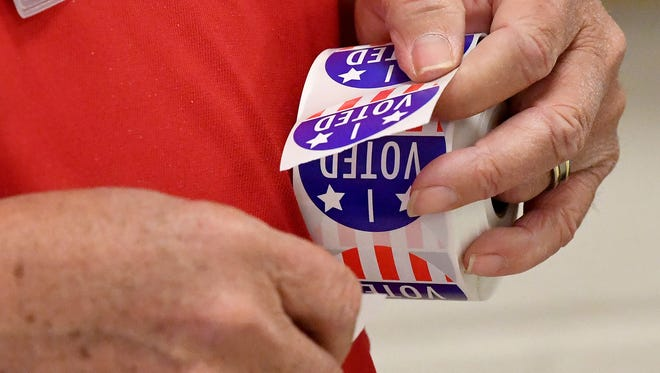 """""""I Voted"""" stickers ready to be handed out to voters at the Ward D polling place in Waynesboro on Tuesday, May 1, 2018."""