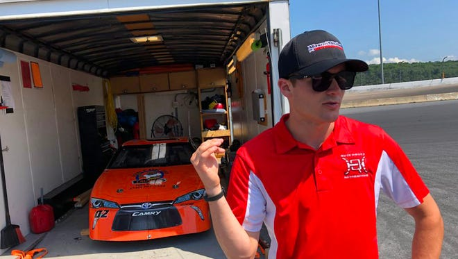Professional stock car driver Quin Houff of Waynesboro talks racing during an interview at Shenandoah Speedway on July 3, 2018.