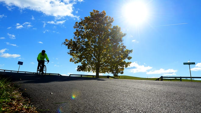 A bicyclist turns onto Cales Springs Road while touring the backroads of Augusta County near Middlebrook as part of the 24th annual Shenandoah Fall Foliage Bike Festival on Sunday, Oct. 19, 2014.