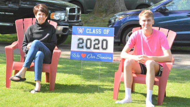 Christie Karmen, left, mother of Winnacunnet High School Class of 2020 salutatorian Colin Donnelly, right, has organized a senior parade for next Wednesday.