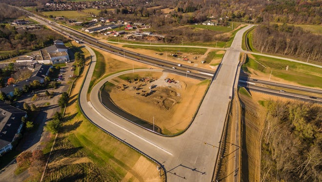 John Rossignol's drone photography shows the Cherry Valley interchange, which opened Nov. 9, eliminating the need for a congestion-creating traffic signal at the intersection of Cherry Valley Road and Ohio 16. Cherry Valley Road was closed on both sides of the state highway.