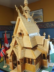 A model of a Norwegian Stavkirke, a medieval church, on display at California Lutheran University.