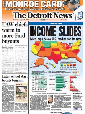 The front page of The Detroit News on Aug. 30, 2006.