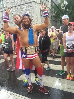 Not typical running attire before the start of the Nashville St. Jude Rock 'n' Roll Marathon.