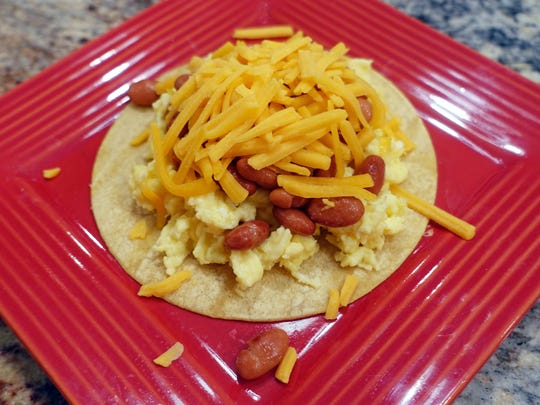 This simple breakfast taco brings 32 grams of protein to the table.