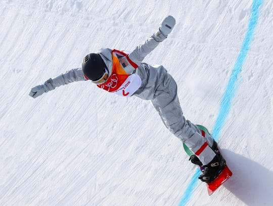 Kelly Clark (USA) competes in Run 2 of women's halfpipe