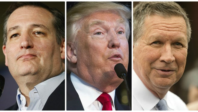 Republican presidential hopefuls Ted Cruz, from left, Donald Trump and John Kasich.