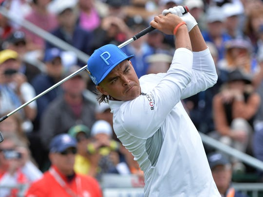 Rickie Fowler plays his shot from the 17th tee during the first round of the 2019 U.S. Open. Photo: Orlando Ramirez/USA TODAY Sports
