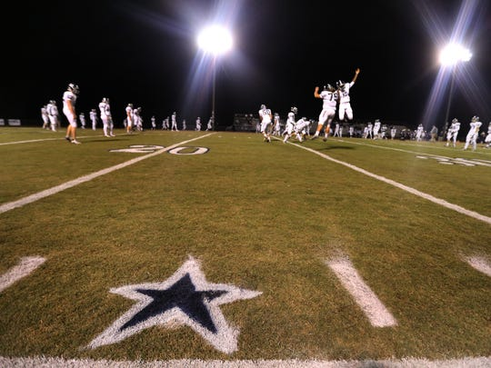 Stars were painted on the Blackman football field at