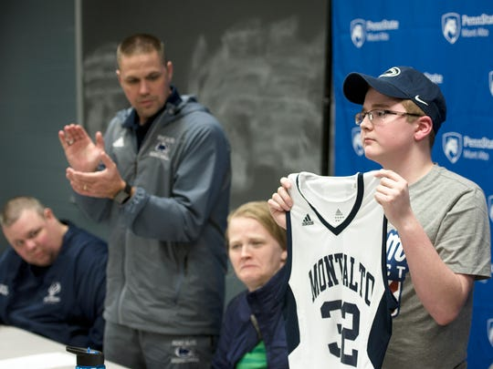 The Penn State Mont Alto men's basketball team, in coordination with Team IMPACT, introduced 13-year-old Preston Harris as the newest member of the Nittany Lions during a special Draft Day, Thursday, January 11, 2018.